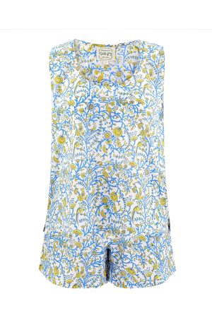 Women Pajamas - Women's Artisanal Grey Cotton Sunshine Yellow Mor Chowk Sleeveless Pyjama Set XL Dilli Grey