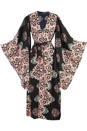 Women Kimonos - Women's Artisanal Black Moroccan Dancer Kimono XXL Jennafer Grace