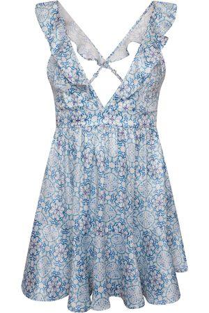 Women Party Dresses - Women's Artisanal Blue Silk Mia Mini Dress Medium Josephine and me