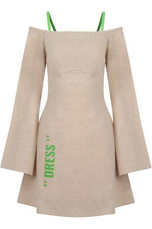 Women Party Dresses - Women's Artisanal Natural Cotton Exposed Shoulders Mini Dress-Beige Large NOCTURNE