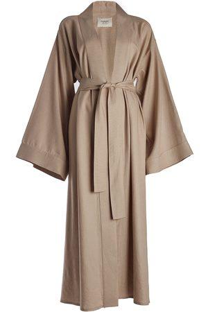 Women Kimonos - Women's Natural Cotton Maxi Linen Kimono (Neutrals) Equpe Studio