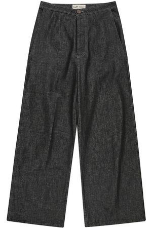 Men Formal Pants - Recycled Blue Cotton Mens Palm Denim Pants Large madre natura