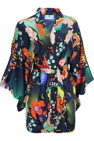 Women's Silk Kimono In Lucid XL Klements