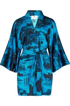 Women's Blue Silk Kimono Small Klements