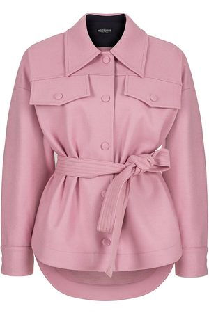 Women Leather Jackets - Women's Artisanal Pink Wool Blend Jacket With Contrasting Leather Detail- L/XL NOCTURNE
