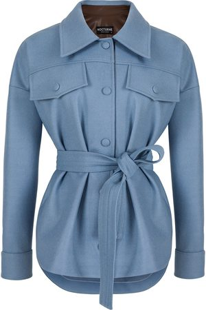 Women's Artisanal Blue Wool Blend Jacket With Contrasting Leather Detail- L/XL NOCTURNE