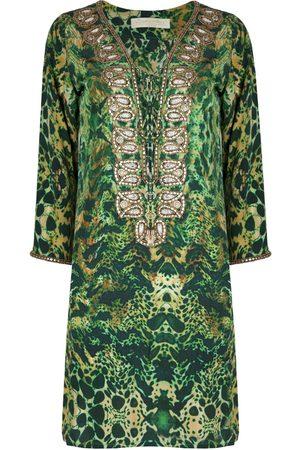 Women's Green Silk Emerald Leopard Taj Kaftan Large Sophia Alexia