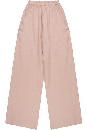 Artisanal Blush Linen Mens Wattle Elastic Pants Large madre natura