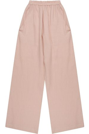 Artisanal Blush Linen Mens Wattle Elastic Pants Small madre natura