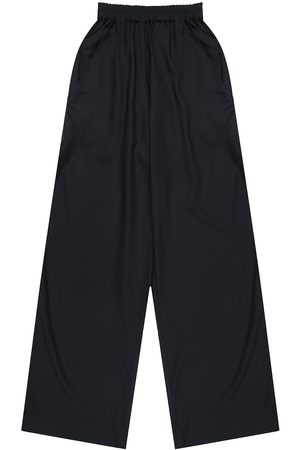 Artisanal Navy Fabric Mens Wattle Viscose Elastic Pants Large madre natura