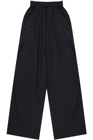 Artisanal Navy Fabric Mens Wattle Viscose Elastic Pants Small madre natura