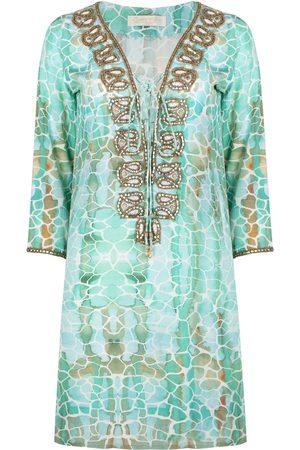 Women's Aqua Silk Pebbles Taj Kaftan XL Sophia Alexia