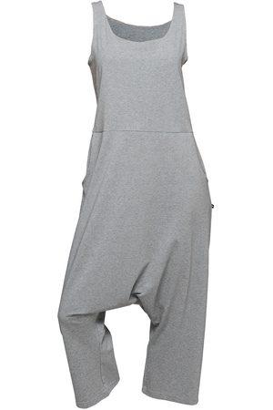 Women Jumpsuits - Women's Artisanal Grey Cotton Non643 Loose Fit Baggy Jumpsuit XS NON+
