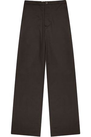 Men Formal Pants - Recycled Olive Cotton Mens Palm Dark Pants XS madre natura