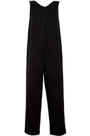 Women Jumpsuits - Women's Artisanal Black Linen Organic Blend Sleeveless Jumpsuit Large LYOS
