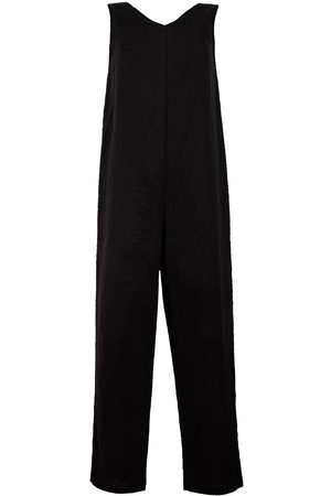 Women's Artisanal Black Linen Organic Blend Sleeveless Jumpsuit XXS LYOS