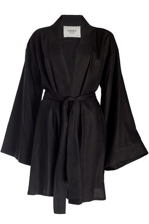 Women Kimonos - Women's Black Cotton Mini Linen Kimono Equpe Studio