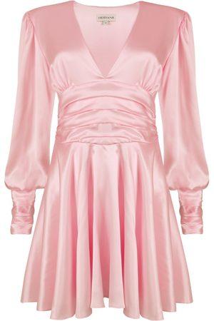Women's Artisanal Pink Silk Maya Mini Dress - Dusky Medium HERVANR