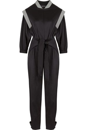 Women's Artisanal Black Cotton Satin Effect Belted Jumpsuit Large NOCTURNE