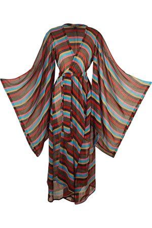 Women's Artisanal Brown Bodie Stripe Kimono XXL Jennafer Grace