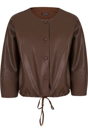 Women Leather Jackets - Women's Artisanal Brown Cotton Leather Blend Jacket-Dark S/M NOCTURNE
