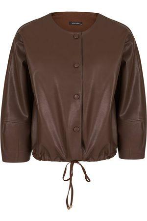 Women's Artisanal Brown Cotton Leather Blend Jacket-Dark L/XL NOCTURNE