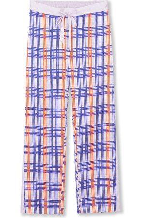 Women Pajamas - Women's Silk Pyjama Bottoms - Periwinkle Plaid Small Jessica Russell Flint