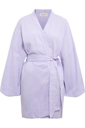Women's Artisanal Lilac Cotton Alice Crinkle Kimono Chillax