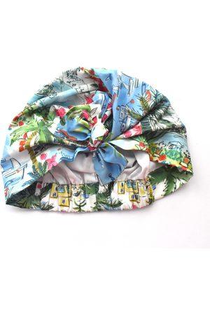 Artisanal Blue Cotton Ladies Turban Hat - Liberty Of London Capevista Scarf Small Tot Knots of Brighton
