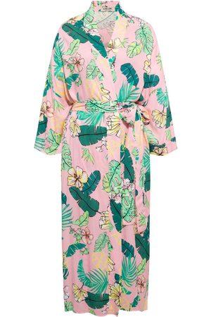 Women Kimonos - Women's Artisanal Pink/Purple Cotton Hawaii Kimono Chillax