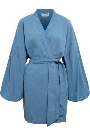 Women Kimonos - Women's Artisanal Blue Cotton Alice Crinkle Kimono Chillax