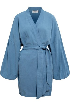 Women's Artisanal Blue Cotton Alice Crinkle Kimono Chillax