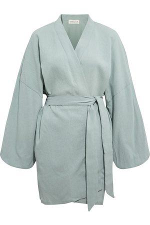 Women Kimonos - Women's Artisanal Mint Cotton Alice Crinkle Kimono Chillax