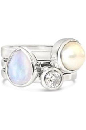 Women's Low-Impact White Silk Spot Dot Drop Gem Bazaar Jewellery