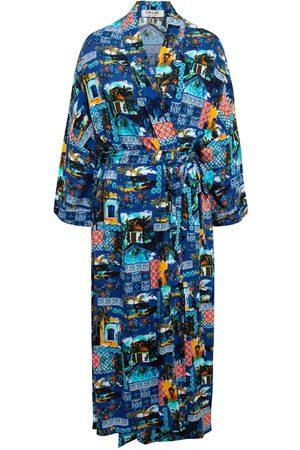 Women Kimonos - Women's Artisanal Blue Cotton Sardinia Kimono Chillax