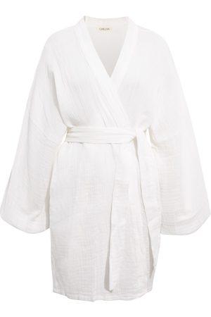 Women Kimonos - Women's Artisanal White Cotton Alice Crinkle Muslin Kimono Chillax