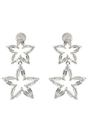 Women Earrings - Women's Artisanal Silver Rhodium Star Baguette Set Drop Earrings AVILIO London
