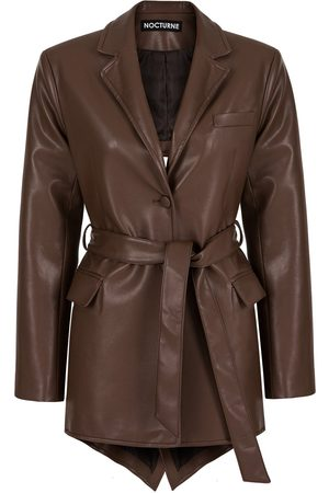 Women Leather Jackets - Women's Artisanal Brown Leather P Blazer With Back Opening Large NOCTURNE