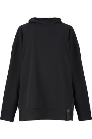 Women's Non-Toxic Dyes Black Leather A-Silhouette Sweatshirt With Raincoat Back Medium 2RU2RA