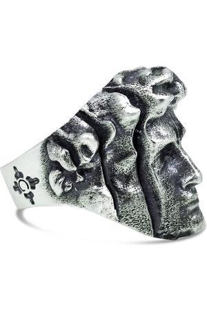 Men's Artisanal Sterling Silver Divisione - Oxidised Ring Girati