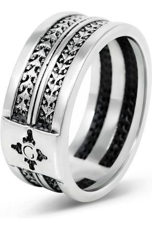 Men's Artisanal Sterling Silver Rectoverso - Oxidised Ring Girati