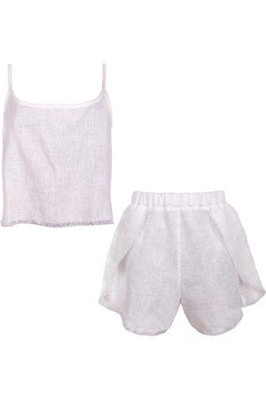Women Pajamas - Women's Artisanal White Linen Blend Pyjama Set In XXS LYOS