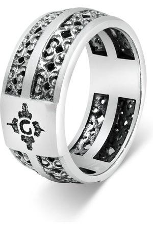 Men's Artisanal Sterling Silver Ornamentale - Oxidised Ring Girati