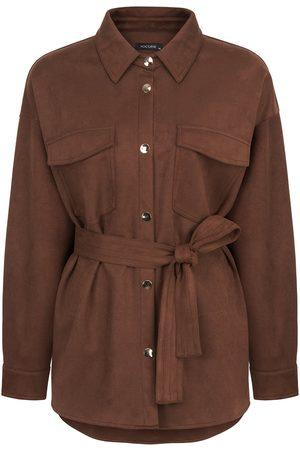 Women Leather Jackets - Women's Artisanal Brown Faux Suede Jacket- Large NOCTURNE