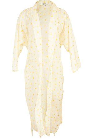 Women's Artisanal White Linen Daisy Koi Kimono S/M Jennafer Grace
