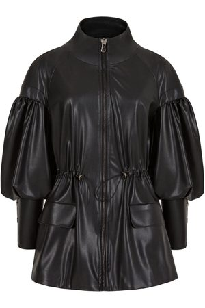 Women Leather Jackets - Women's Artisanal Black Leather Balloon Sleeve P Jacket L/XL NOCTURNE