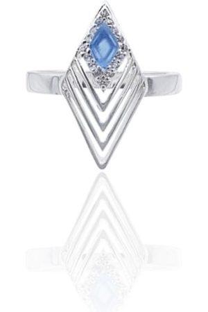 Women's Blue Sterling Silver Greta Art Deco Ring With Onyx In Eliza Bautista