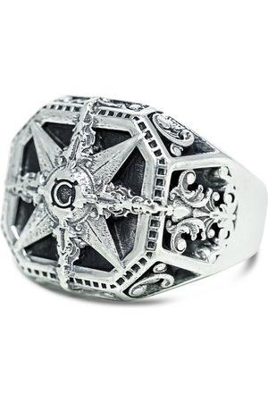 Men's Artisanal Sterling Silver Bussola - Oxidised Ring Girati