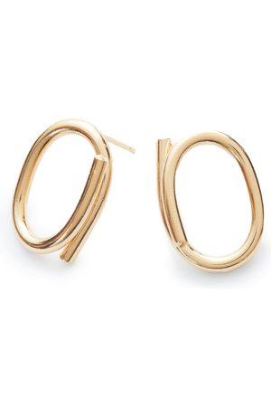 Women's Artisanal Gold Stud Chain Earrings NORITAMY