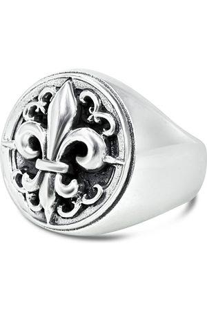 Men's Artisanal Sterling Silver Fleur De Lis - Oxidised Ring Girati